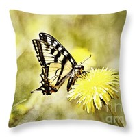 """Butterfly on Dandelion Throw Pillow for Sale by Ivy Ho - 16"""" x 16"""""""