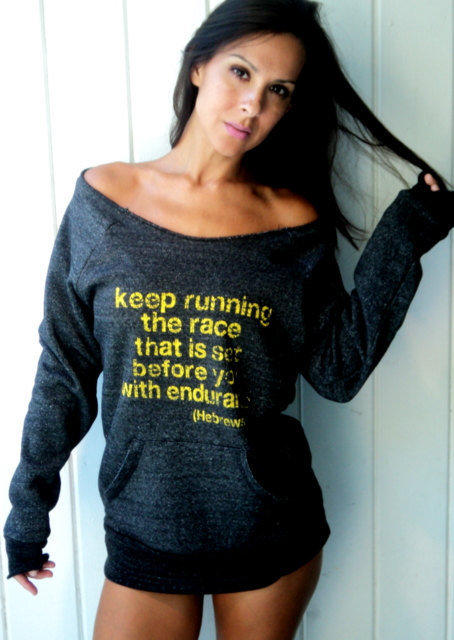 Keep Running the Race that is Set Before You with Endurance Off-the-Shoulder Girly Sweatshirt Size LARGE