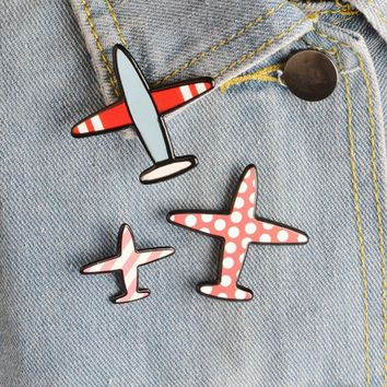 Trendy 3 pcs/lot creative airplane acrylic brooch button pins denim jacket pin jewelry decoration badge for clothes lapel pins AT_94_13