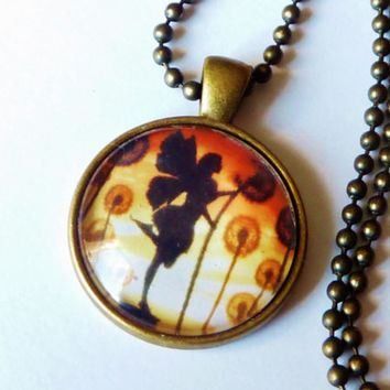 Fantasy-necklace with fairy and dandelions, fantasy, fairytal, gift girl