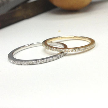 Diamond Wedding Ring,14K Yellow Gold,0.15ctw Round Cut Diamond,Half Eternity Matching Band,Anniversary Fine Ring,Stackable,Thin Design