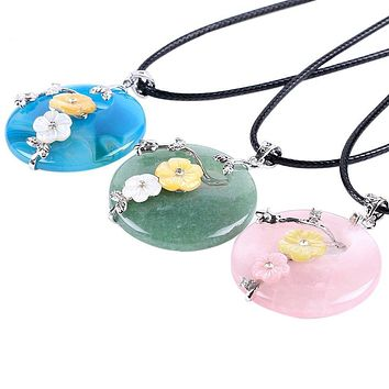 Natural Gem Stone Hollow Round Necklaces