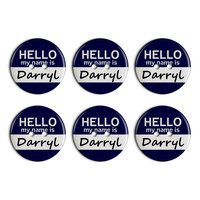 Darryl Hello My Name Is Plastic Resin Button Set of 6