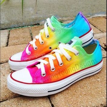 ESBONB RAINBOW CONVERSE Custom Tie Dye Converse by LivingYoungDesigns