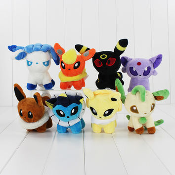 Pokemon Plush Toys Anime Poke Eevee Stuffed Doll Umbreon Leafeon Espeon Vaporeon Flareon Sylveon  5''13cm