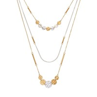 SONOMA life + style Hammered Disc Long Multistrand Necklace (Silver/Gold)