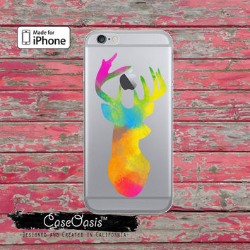 Paint Deer Head Antlers Hunting Animal Clear Rubber Phone Case For iPhone 6, iPhone 6 Plus, iPhone 5s, and iPhone 5c Transparent Clear Case