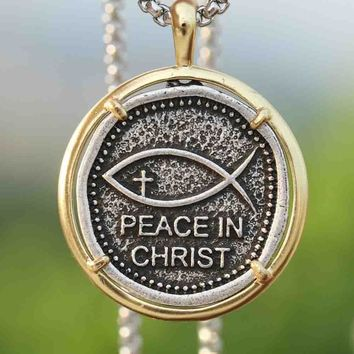 Christian Necklace Mens Peace in Christ Pendant Fashion Faith Hope Love Cross Religion Jewelry