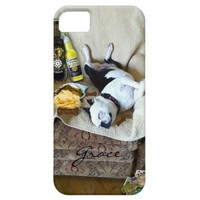 Boston Terrier Let's Party Monogram iPhone5 iPhone 5 Case from Zazzle.com