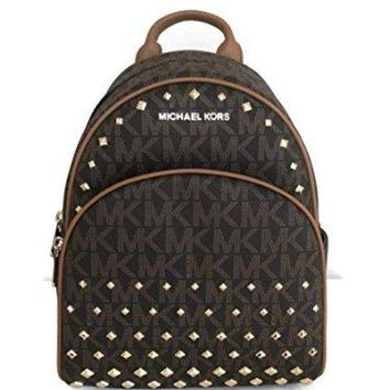 Michael Kors Abbey Medium Backpack Brown MK Signature Stud School Bag 28000