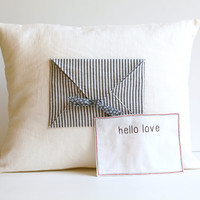 "Hello Love Letter Pillow Cover Home Decor Hello Love Pillow 12"" x 16"" Love Letter Pillow Home Decor Linen"