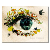 Surreal wall art, Blue Eye photography, Woman and Nature, Fine Art, 5x7