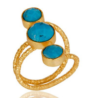 Natural Turquoise Sterling Silver Wire Design Ring with 18k Gold Plated