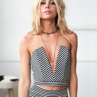 Deep Sweetheart Striped Crop Top