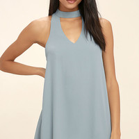 Groove Thing Slate Blue Swing Dress