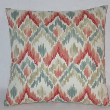 "Coral and Aqua Ikat Pillow Cover, Tan Blue Teal Peach White, Watercolor Diamond Flamestitch Print, 17"" Square Cotton, Ready Ship"