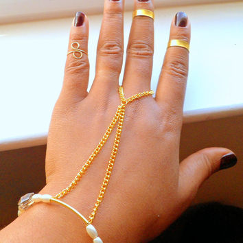 Pearl Hand Chain Attached Ring Bracelet, with golden Chain and Gold Bar , edgy everyday flair