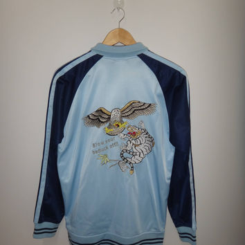 Vintage Sukajan Blow Your Bad Luck Off !! Sweater Japan Souvenir Vietnam War Sweater Japanese Style