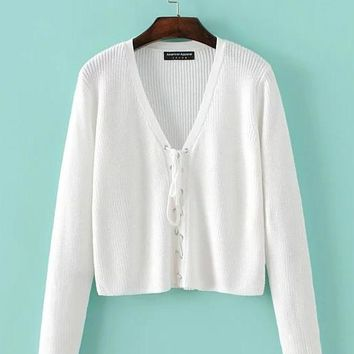 Deep V-neck Lace Up Long Sleeves Pure Color Cardigan