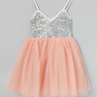 Blush & Silver Glitter Tank Dress - Infant, Toddler & Girls