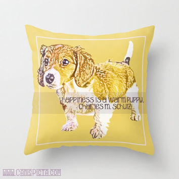 "Dachshund, Pet Graphic Print 16"" x 16"" Throw Pillow Cover - Couch Art, Yellow, Quote Charles M. Schulz, Peanuts, Puppy, Pet, Love"