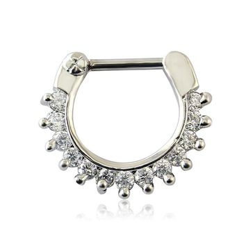 Mysterious Indian Nose Ring Punk Fashion 16g Piercing Nose Rings Bling Bling Crystal Septum Piercing For Women/Girl Best Gift