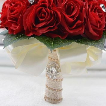 Wedding Accessories Rose Flowers Red White Bridal Bouquet Crystal
