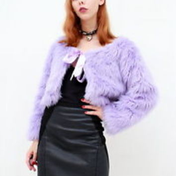 PASTEL GOTH LAVENDER Purple Cute Fluffy FAUX FUR Ribbon Bow Crop Jacket Coat S M