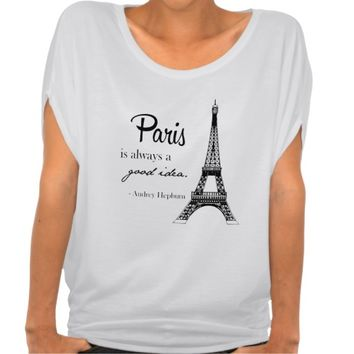 Paris / Eiffel tower/ Audrey Hepburn t-shirt