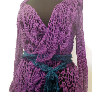 Purple long sleeved lace jacket, purple beach cover up size small