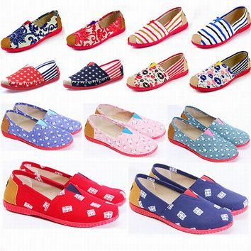 2017 New Women's fashion Espadrilles Slip-On Boat Flat Flats Fisherman Weave Casual Canvas Loafers oxford Lazy shoes