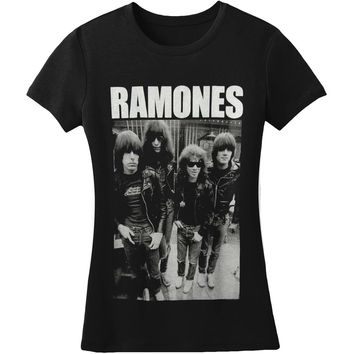 Ramones  Band Photo Junior Top Black