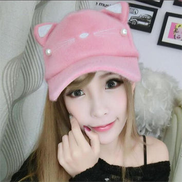 New Arrival Autumn and Winter Cute Cat Ears Winter Furry Warm Baseball Hat Cap for Women lady free shipping