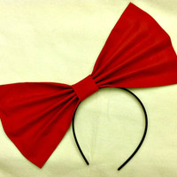 Red Extra Large Big Hair Bow Headband