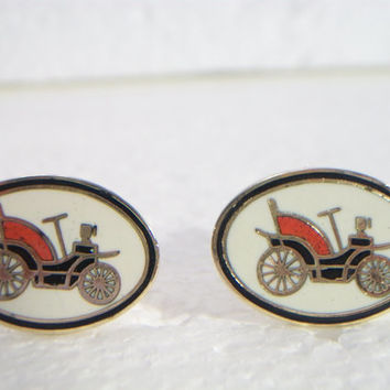 Antique Car Cufflinks Cuff links vintage IMITATION PAT APP