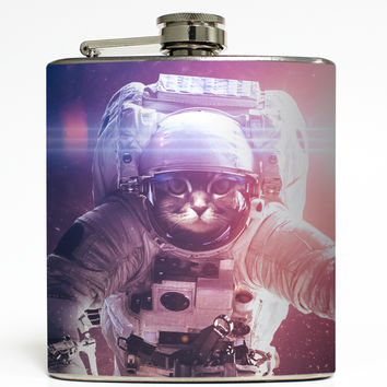 Cat Astronaut 2 - Funny Outer Space Flask