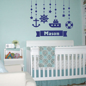 kik2323 Wall Decal Sticker Marine name boy steering ship anchored over bed children's room