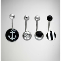 14 Gauge Black and White Anchor Banana 4 Pack