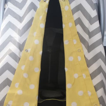 Infant car seat cover, Infant car seat canopy, Baby car seat canopy, Baby car seat cover, Carrier Cover, Infant Carrier, Chevron, Grey, Dots