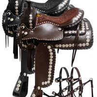 Saddles Tack Horse Supplies - ChickSaddlery.com Double T Parade Style Saddle Set With Tooled Leather Seat
