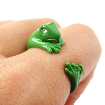 3D Lizard Gecko Frog Shaped Animal Wrap Around Ring in Green | Size 4 to 9 Available