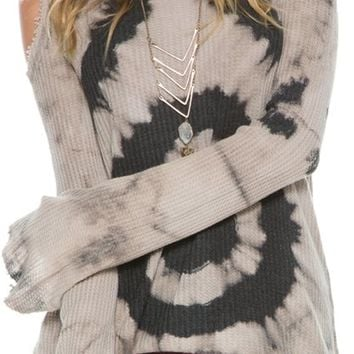 SWELL BALMY COLD SHOULDER HOODED SWEATER