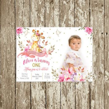 Giraffe Birthday Invitation Printable, Photo Birthday Invitation for girls, Pink Floral Watercolor 1sth Birthday Invitation Picture Invite