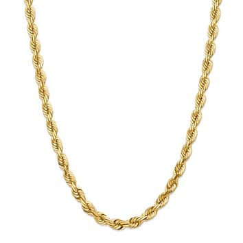Men's 7mm, 14k Yellow Gold, Diamond Cut Solid Rope Chain Necklace