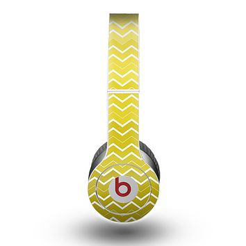 The Yellow Gradient Layered Chevron Skin for the Beats by Dre Original Solo-Solo HD Headphones