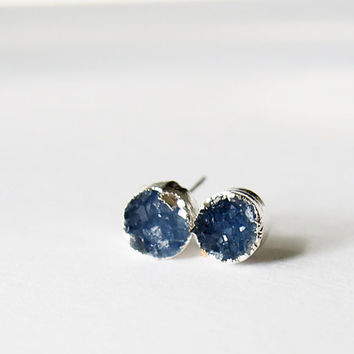 Druzy Stud Earrings Blue Druzy Golden Studs