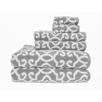 Better Homes and Gardens Jacquard 6-Piece Towel Set, Silver - Walmart.com