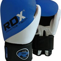 RDX Rex Leather Blue White MMA Boxing Gloves