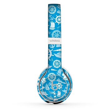 The Blue Nautical Collage Skin Set for the Beats by Dre Solo 2 Wireless Headphones