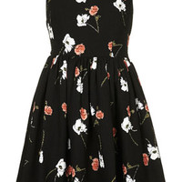 **Floral Print Sundress by Kate Moss for Topshop - Black